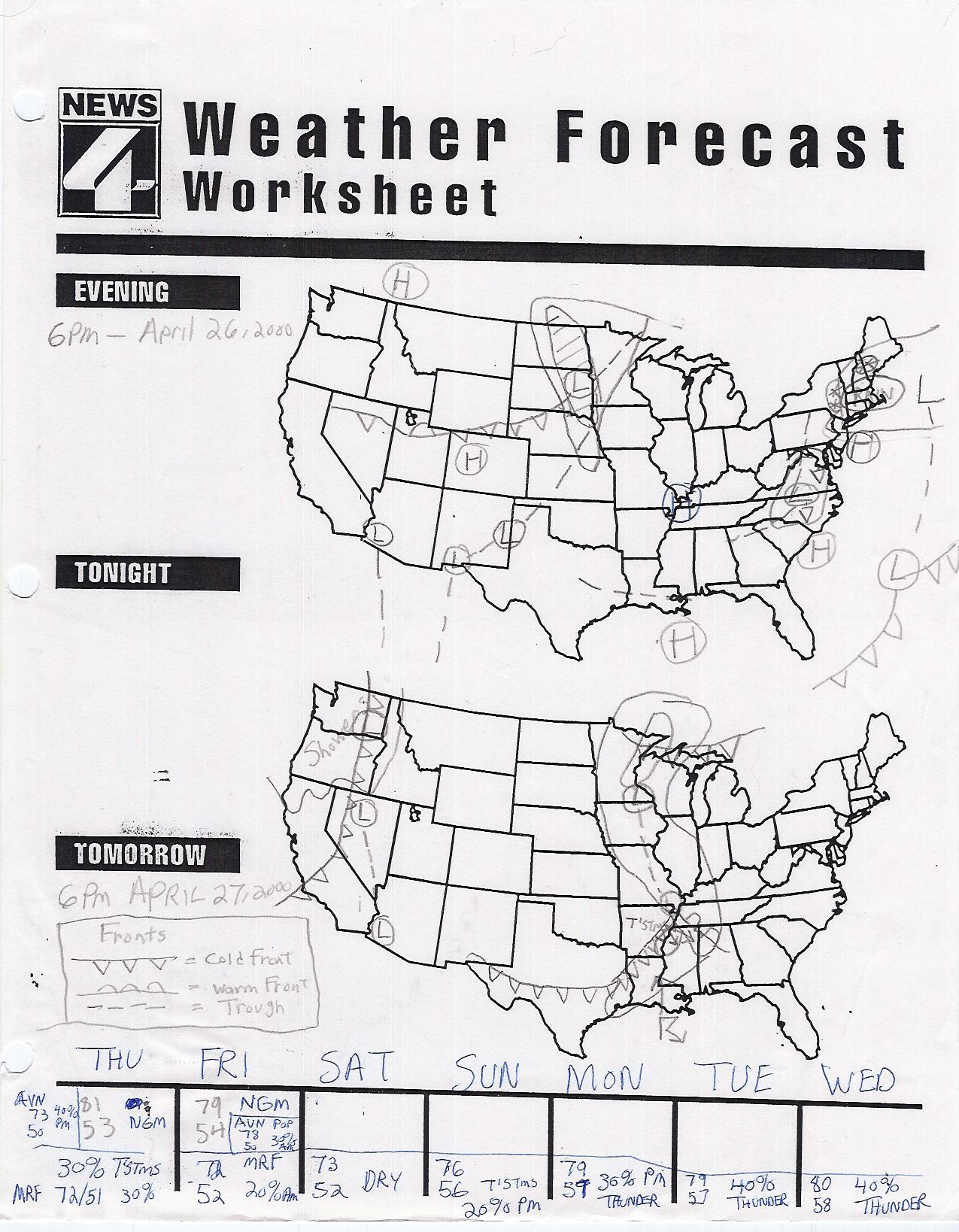 Read A Weather Map Worksheet