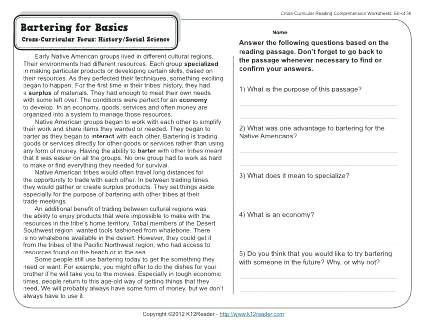 Reading Comprehension Worksheets 7th Grade 7th Grade Reading