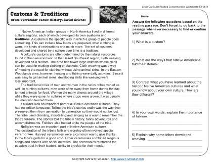 Reading Comprehension Worksheets 7th Grade Customs And Traditions