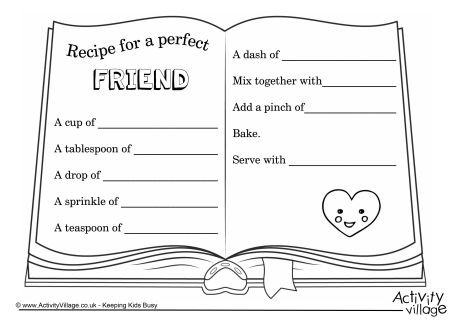 Recipe For A Perfect Friend