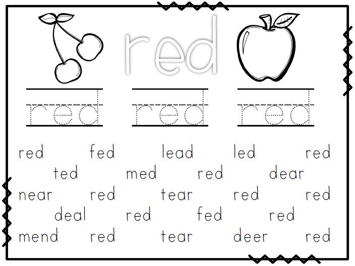 Red Color Worksheets For Kindergarten