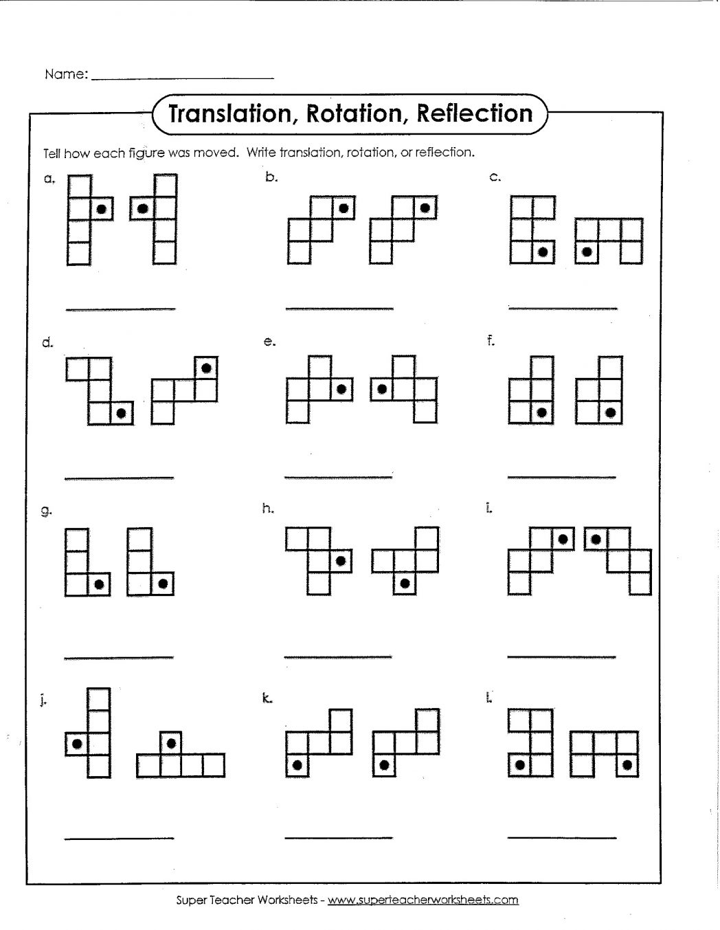 Reflections Rotations Translations Worksheets The Best Worksheets