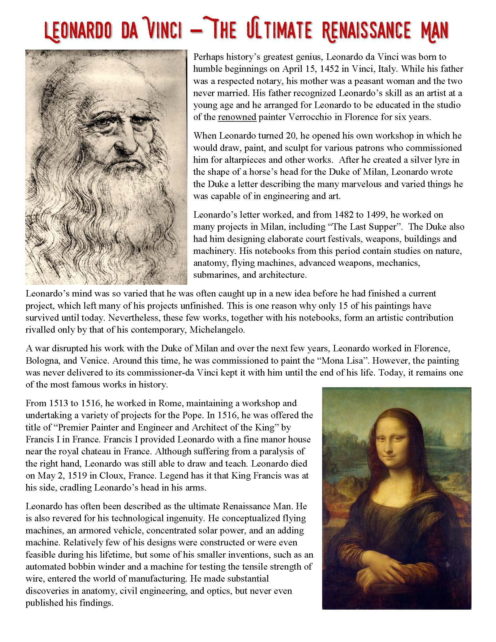 Renaissance History Worksheets