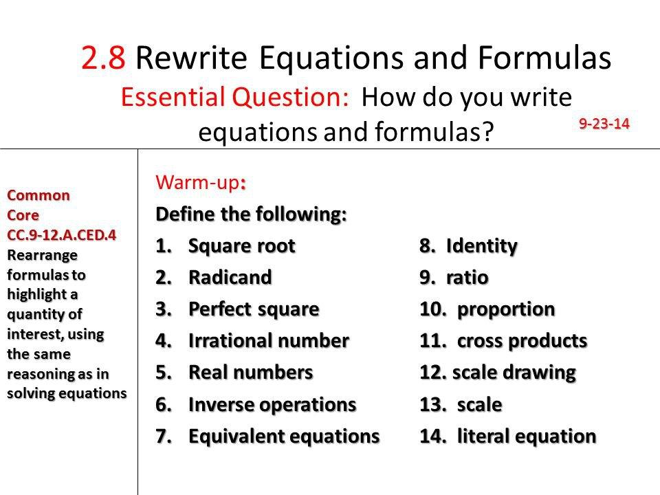 Rewriting Formulas Worksheet The Best Worksheets Image Collection