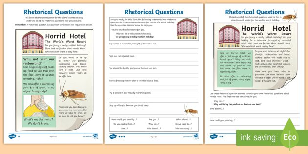 Rhetorical Questions Differentiated Worksheet   Activity Sheets