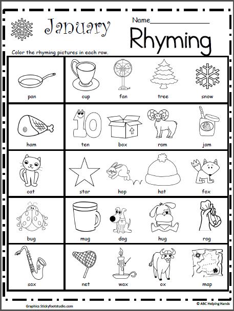 Rhyming Worksheet For January