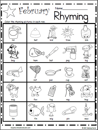 Rhyming Worksheets Kindergarten Rhyming Worksheets For February