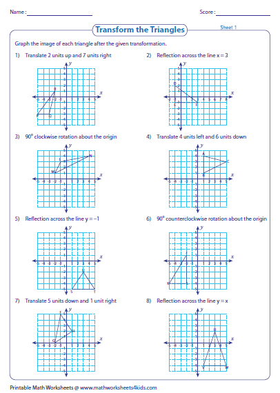 Rotations Worksheet 8th Grade Transformation Of Triangles Math