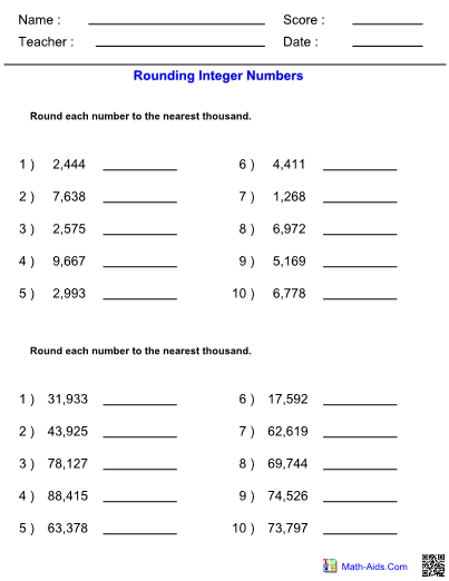 Rounding Worksheet With Answer Sheet I Teachersherpa