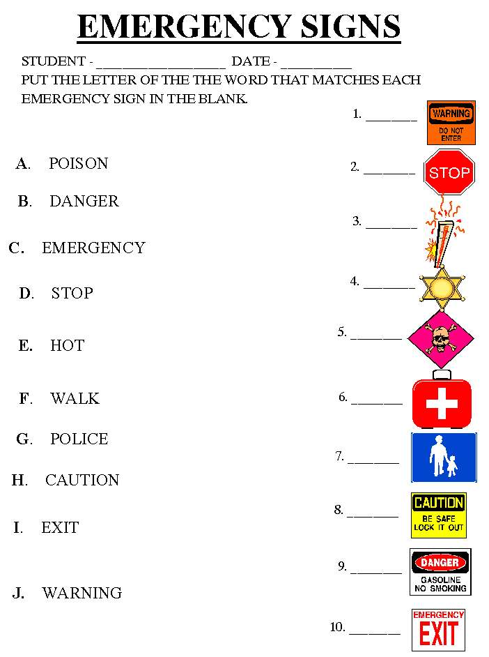 Safety Signs Worksheets Safety Signs Worksheets Community Signs