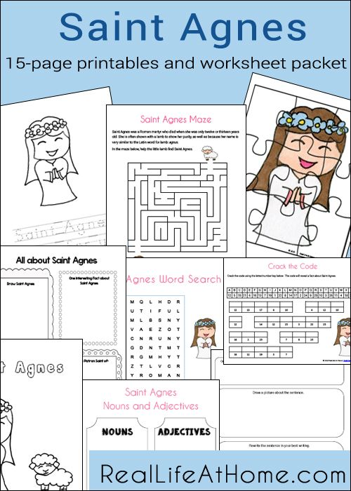 Saint Agnes Printables And Worksheet Packet For Catholic Children