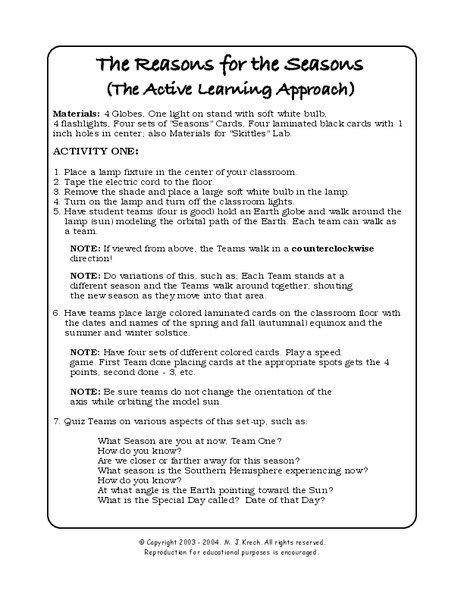 Seasons Worksheet Middle School The Best Worksheets Image