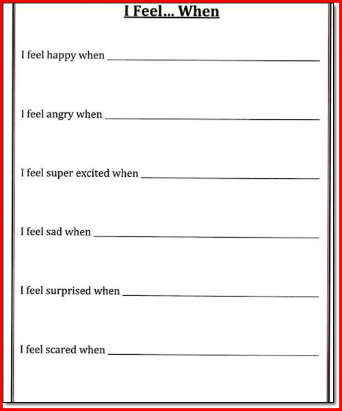 Self Control Worksheets For Elementary Students The Best