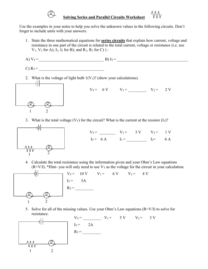 Series And Parallel Circuits Worksheet Physics