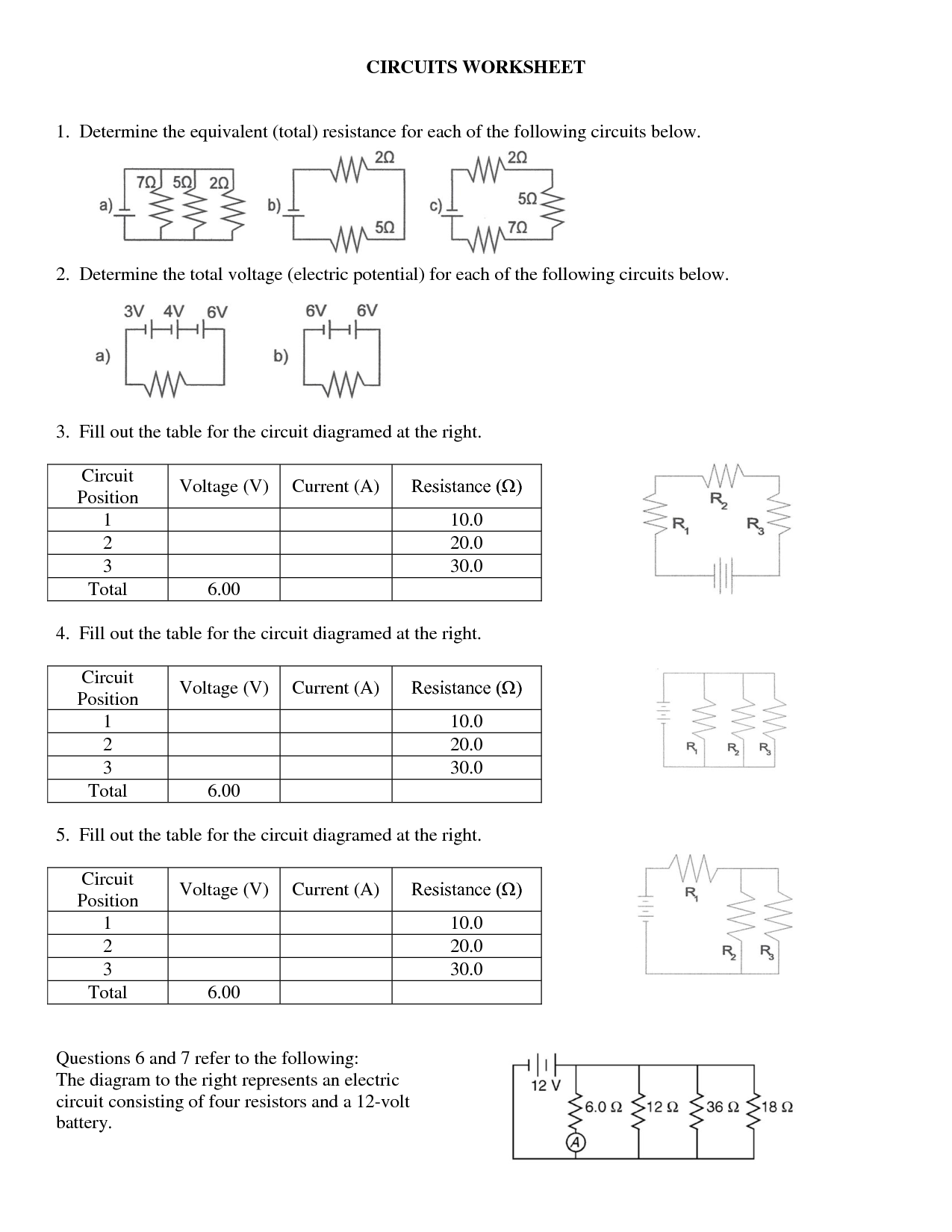 Series Parallel Circuits Worksheet The Best Worksheets Image