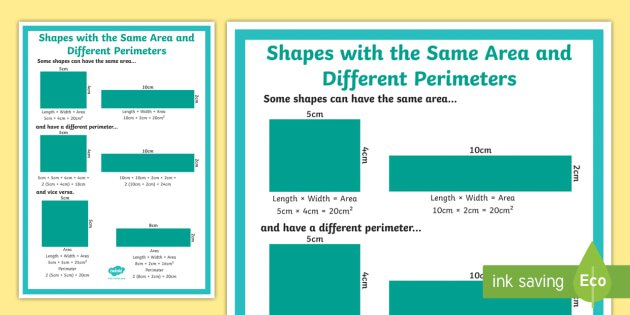 Shapes With The Same Area And Different Perimeters Display