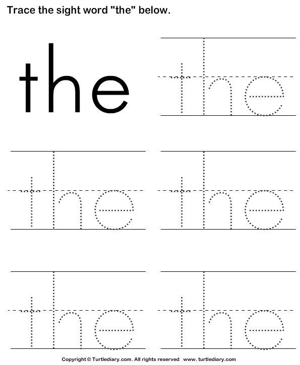 Sight Word The Tracing Sheet Worksheet