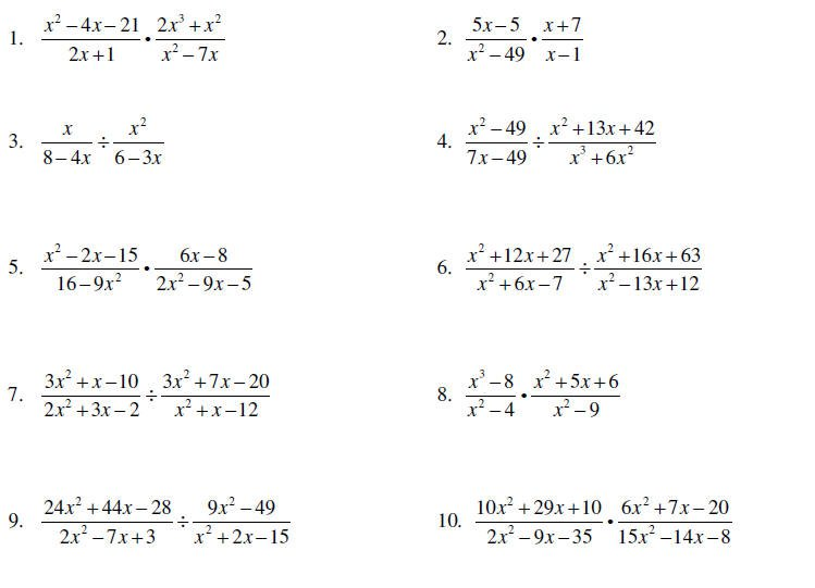 Simplifying Rational Expressions Worksheet Multiplying And