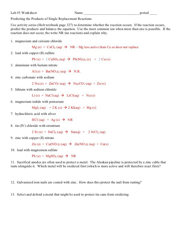 Single Replacement Reaction Worksheet Answers Single Replacement