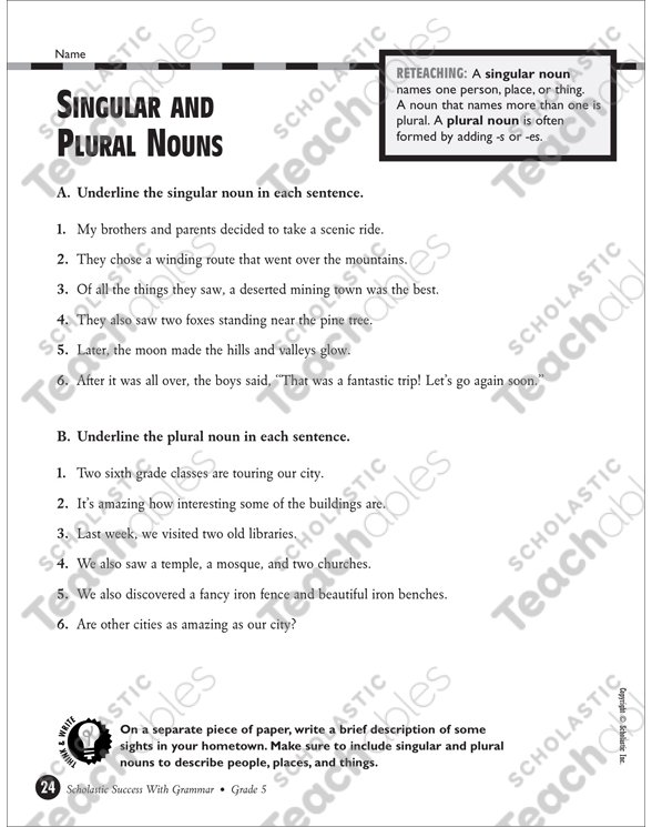 Singular And Plural Nouns Grade 5 Collection