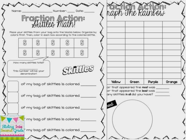 Sliding Into Second Grade  Fraction Action  Skittles Math!