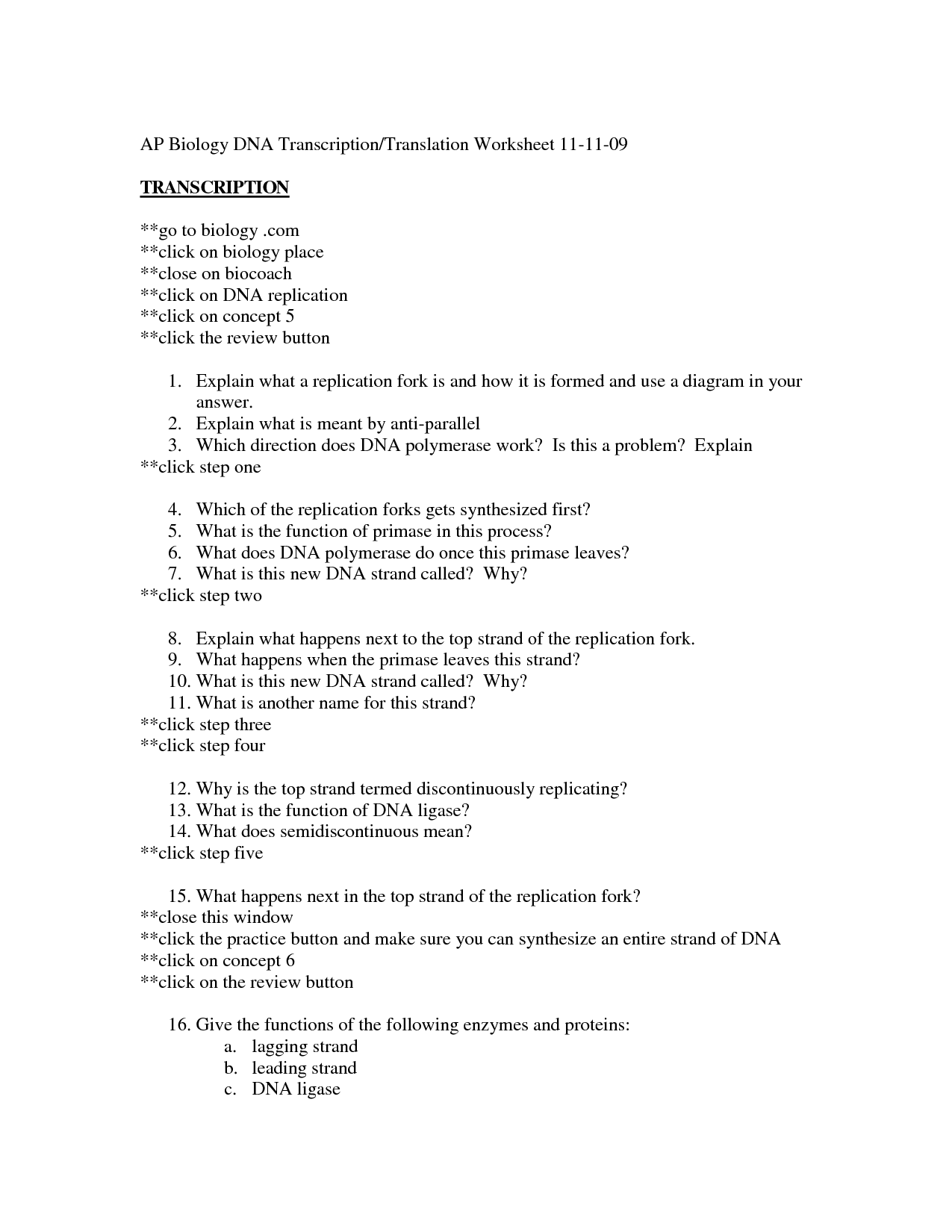 Solved Dna Transcription And Translation Directions 1 T Worksheet