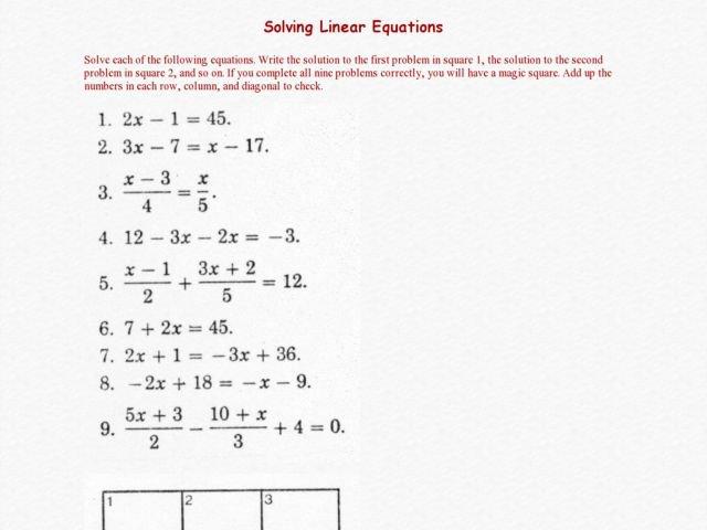 Solving Linear Equations Worksheet Solving Linear Equations