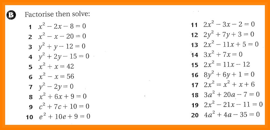 Solving Quadratic Equations By Factoring Worksheet 5 Quadratic