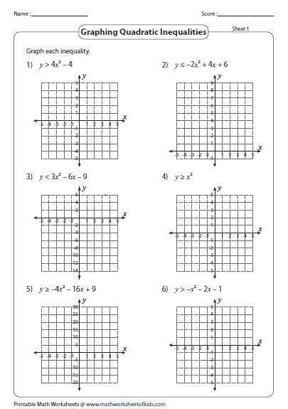 Solving Quadratic Inequalities Algebraically Worksheet