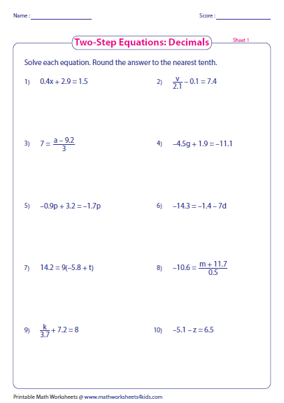 Solving Two Step Equations Worksheet Two Step Equation Worksheets
