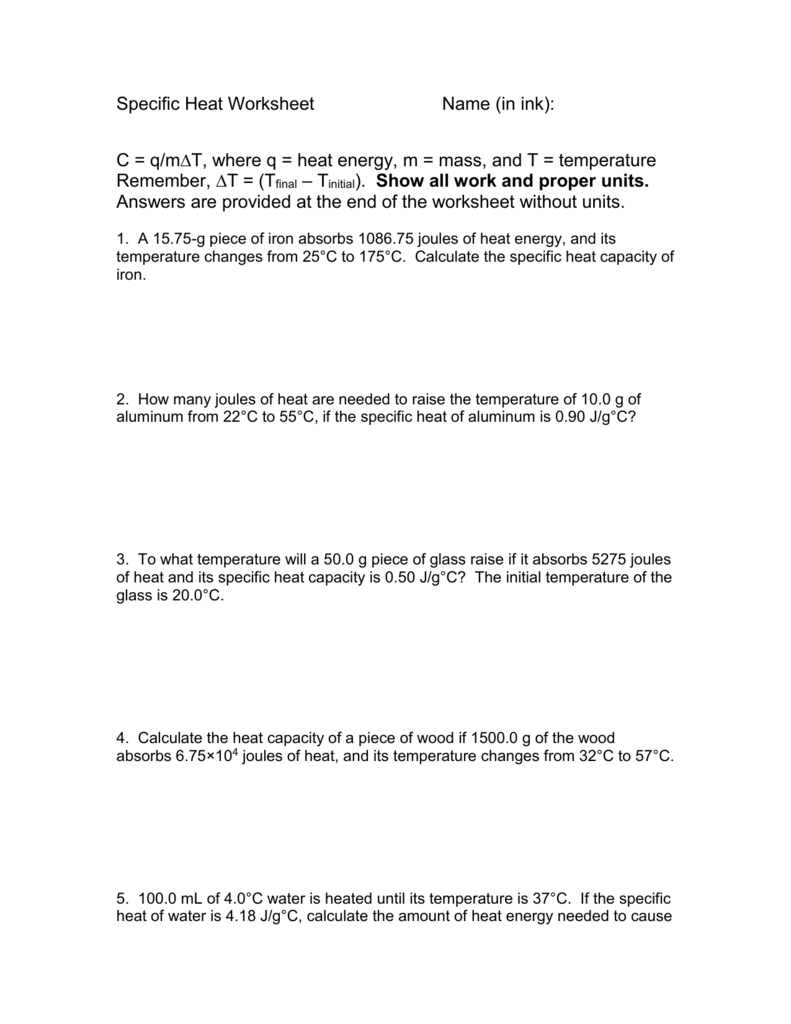 Specific Heat Calculations Worksheet The Best Worksheets Image
