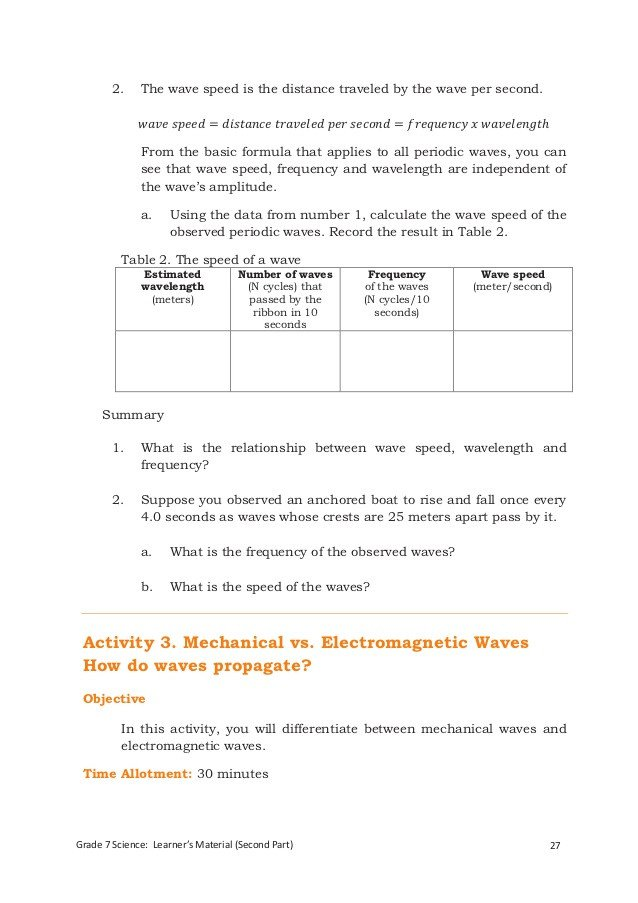 Speed Frequency And Wavelength Worksheet Answer Key Image