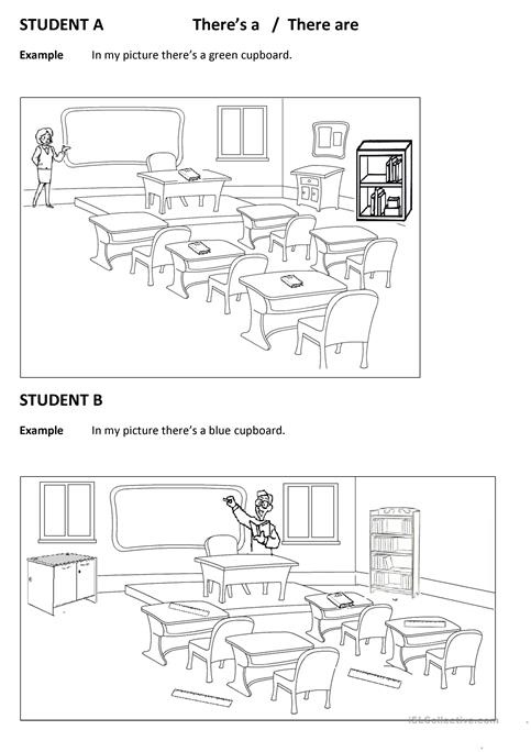 Spot The Differences Classroom (there Is There Are)) Worksheet