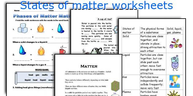 States Of Matter Worksheet Pdf English Teaching Worksheets States