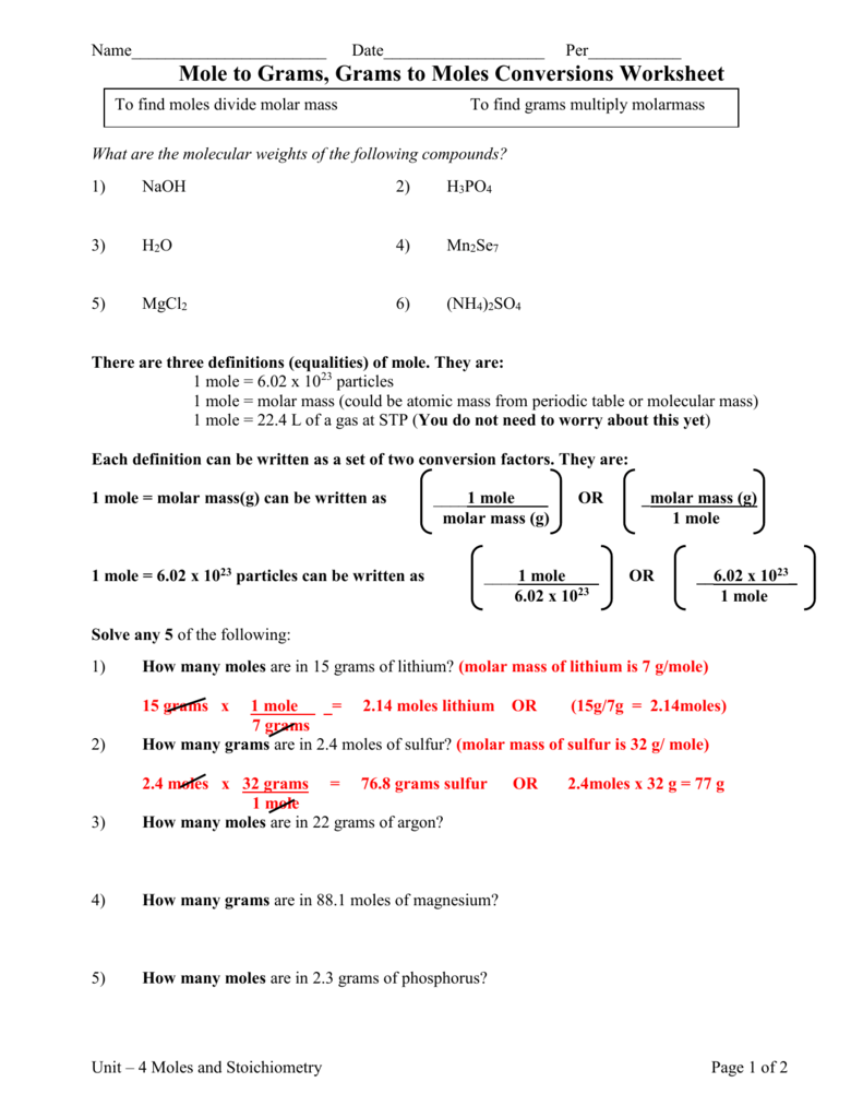 Stoichiometry Mole To Mole Worksheet The Best Worksheets Image