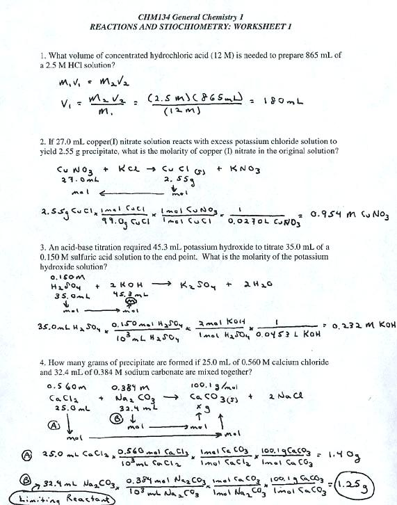 Stoichiometry Worksheet Answers Chemical Equations And