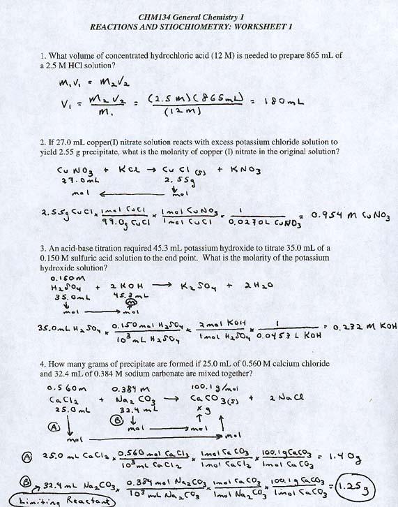 Stoichiometry Worksheet Answers Stoichiometry Worksheet With