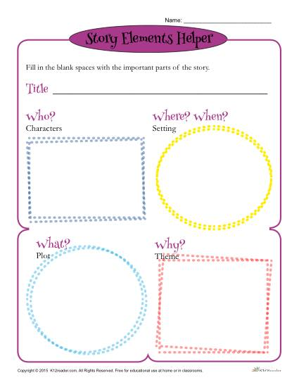 Story Elements Worksheets Story Elements Helper Form Template For