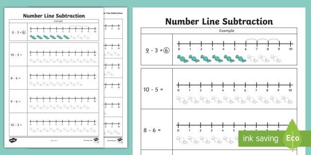Subtraction From 10 Number Line Worksheet
