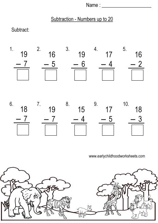 Subtraction To 20 Worksheets