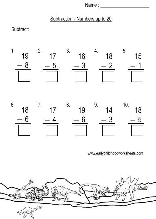 Subtraction Within 20 Worksheet