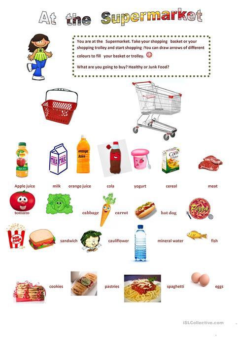 Supermarket Worksheet Printables