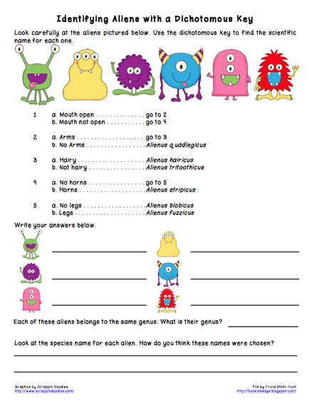 Taxonomic Key Worksheet