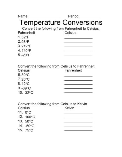 Temperature Conversion Worksheet Temperature Conversion Worksheet