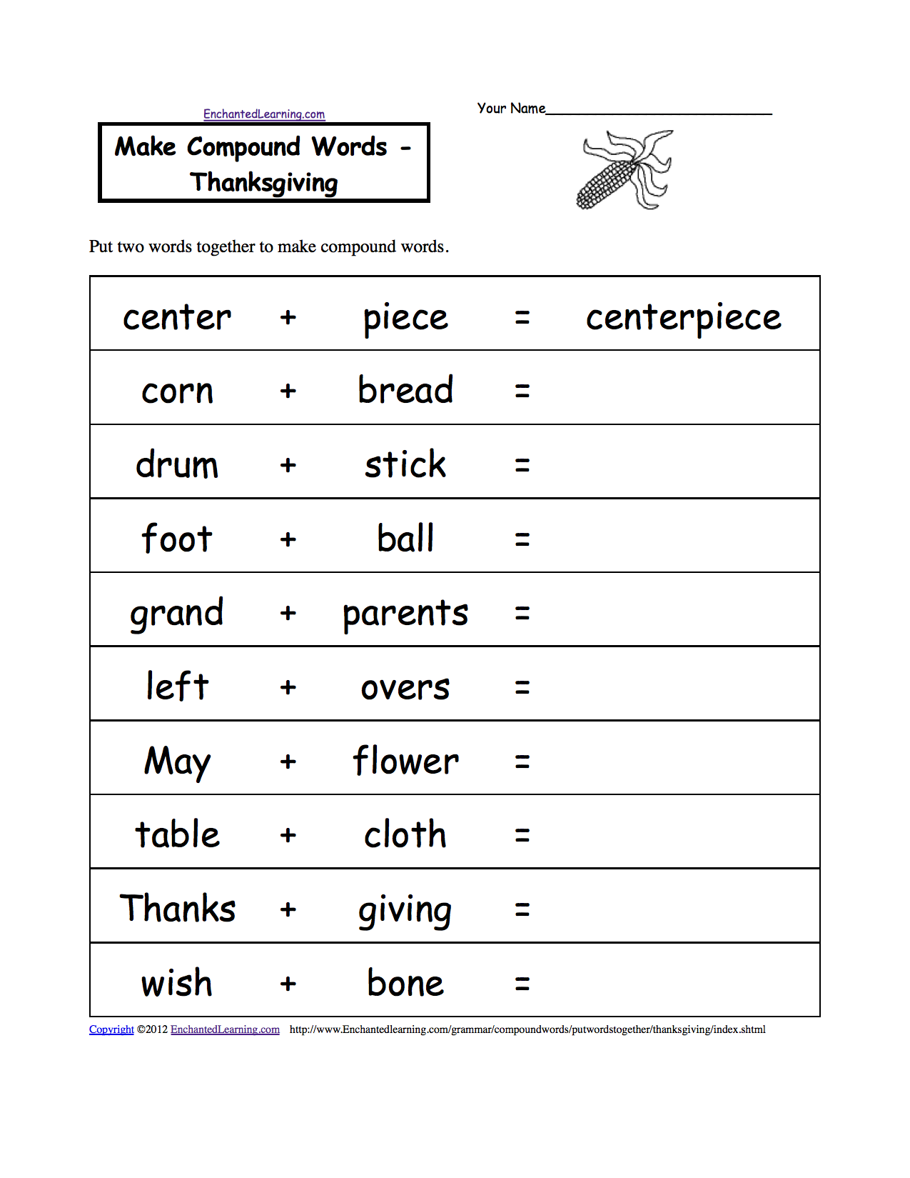 Thanksgiving Worksheet For 2nd Grade Free