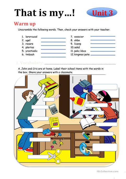 That's My  Classroom Objects ( My Own Pictures) Worksheet