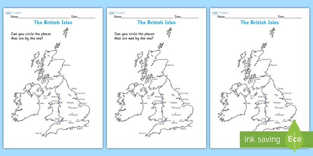 The British Isles Seaside Map Worksheet