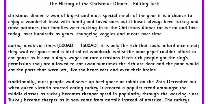 The History Of The Christmas Dinner Editing Task