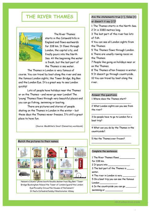 The River Thames (&london Sights) Worksheet