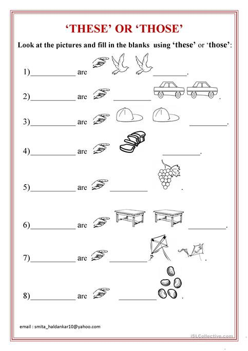 These' Or 'those' Worksheet